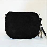 Удивительная женская сумочка из натуральной замши черного цвета на плечо АСМ-070988, фото 1