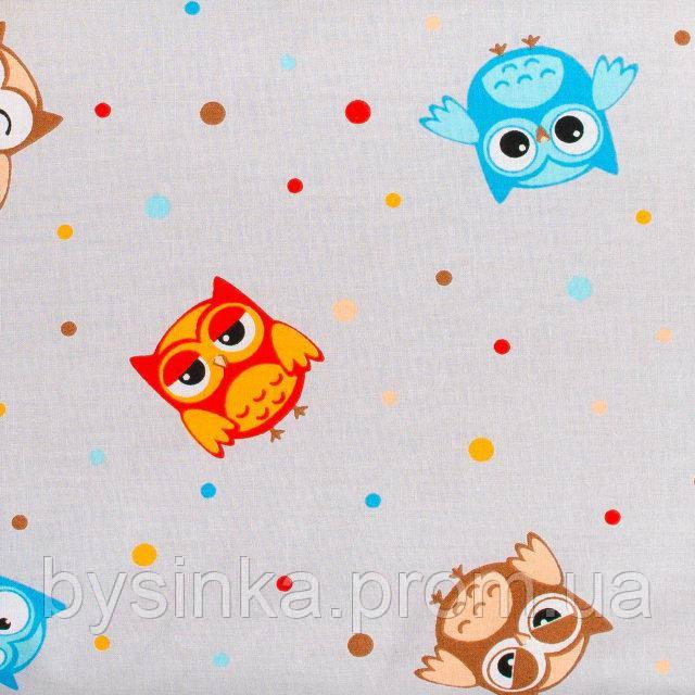 Детская простынь на резинке в кроватку BabySoon хлопок Забавные совы 120 х 60 см (0228)