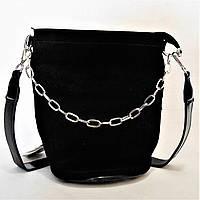 Женская сумочка из натуральной замши черного цвета с цепочкой  СВВ-070110, фото 1