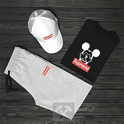 Мужской костюм тройка кепка футболка и шорты Суприм (Supreme), летний мужской костюм, копия