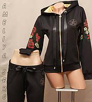 Спортивный костюм чёрный женский Турция с цветочным принтом на змейке, фото 1