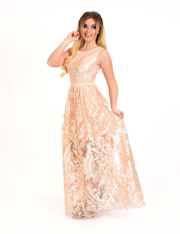 Женское вечернее платье ENIGMA MKENG2178 розовое макси в пол