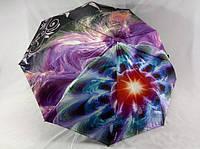 Атласный женский зонт-полуавтомат на 9 спиц абстрактный рисунок