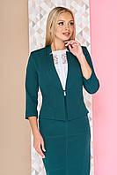 """Классический короткий женский пиджак с рукавами 3/4 """"Евангелина"""" однотонный зеленый"""