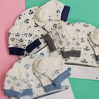 Н-р для новорожденных шапочка, носочки, царапки для мальчика и девочки