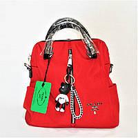 Эксклюзивный Итальянский женский рюкзак-сумка красного цвета IRE-060059, фото 1