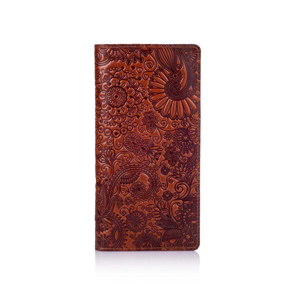 """Бумажник с глянцевой натуральной кожи янтарного цвета с отделением для монет, коллекция """"Mehendi Art"""""""