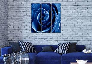 Триптих картина Синяя Роза  купить в трех размерах на Холсте син., 65x65 см, (65x20-3), фото 3