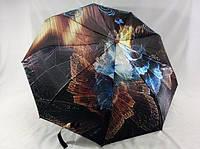 Атласный женский зонт- полуавтомат на 9 спиц абстрактный рисунок