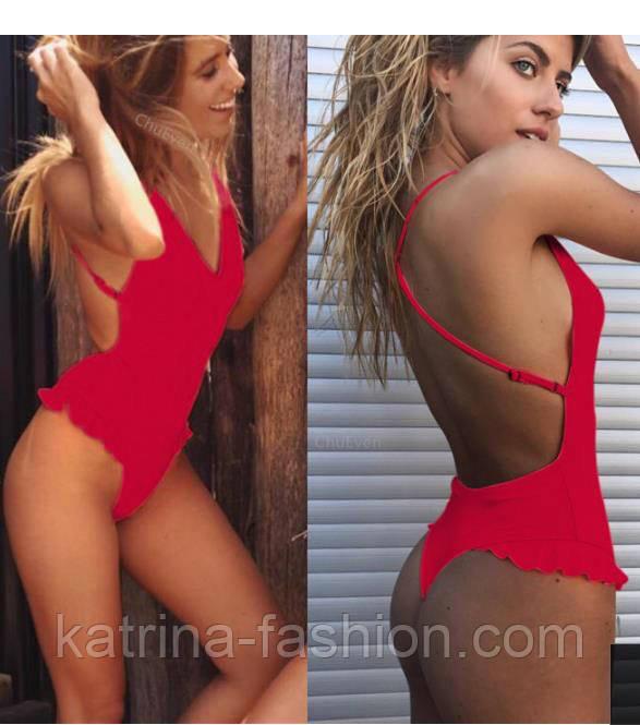 Женский купальник сдельный красный с открытой