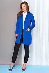 """Модный деловой длинный женский пиджак с карманами и воротником-стойкой """"Мелвин"""" электрик"""