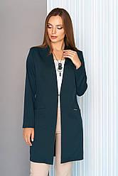 """Удлиненный женский деловой пиджак с карманами и воротником-стойкой """"Мелвин"""" цвет бутылка"""