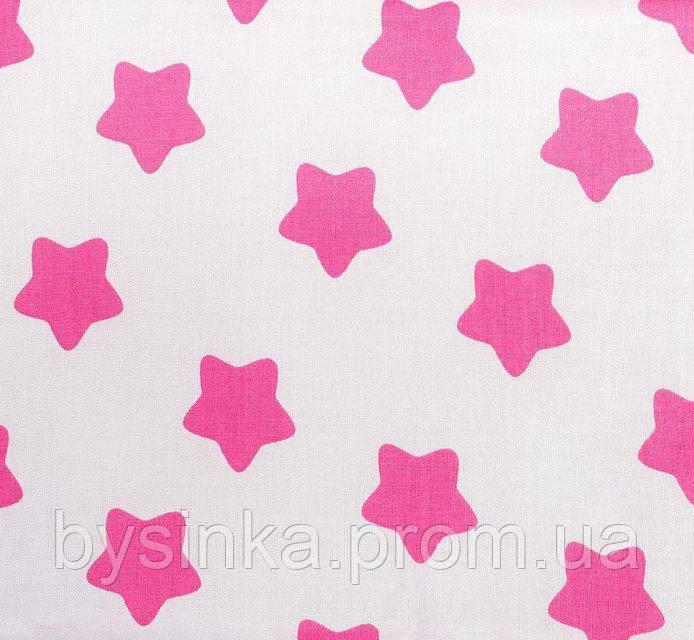 Простынь на резинке в детскую кроватку BabySoon хлопок Розовые звезды на белом 120 х 60 см (266)