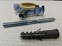 Хомут металлический с резинкой и шурупом для крепления труб, фото 1