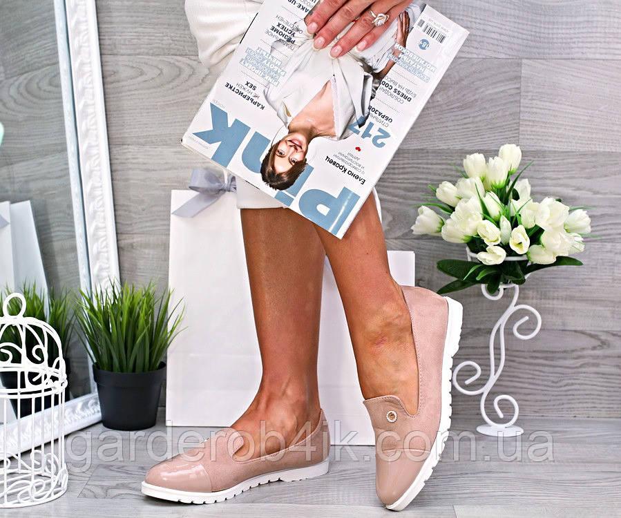 Женские туфли мокасины, эко-замш