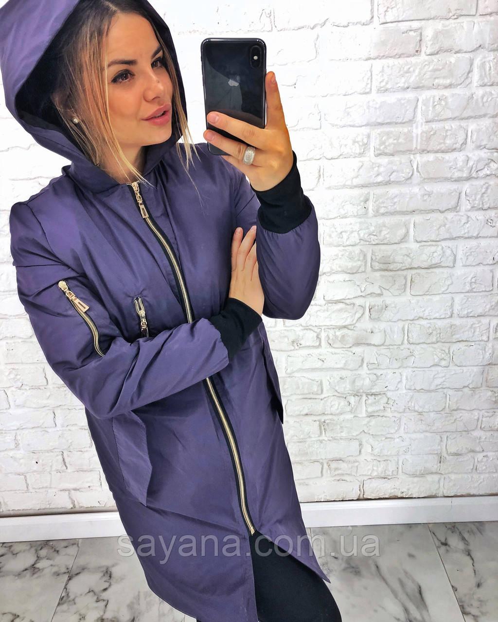 Женская демисезонная куртка с капюшоном, в расцветках. АВ-7-0718