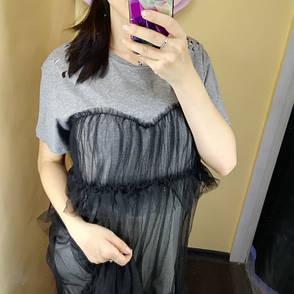 Платье-футболка серая с чёрным фатином- 523-0355, фото 2