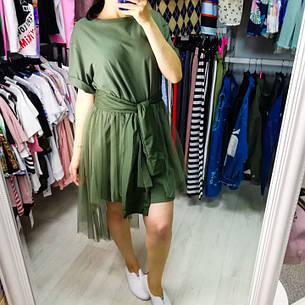 Комплект футболка+юбка фатин хаки- 523-0362-1, фото 2