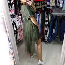 Комплект футболка+юбка фатин хаки- 523-0362-1, фото 3