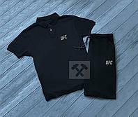 Летний спортивный костюм UFC, поло+шорты (черный)