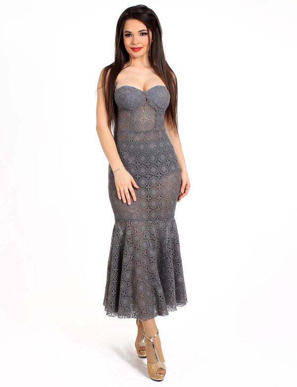 Платье женское серое  вечернее ENIGMA MKENG 3059