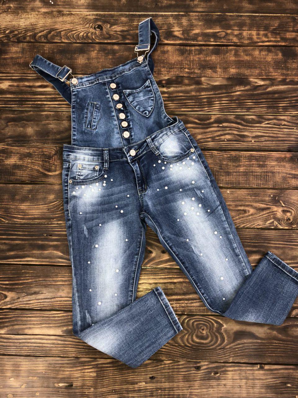 Комбінезон джинсовий з перлами(знімний верх)