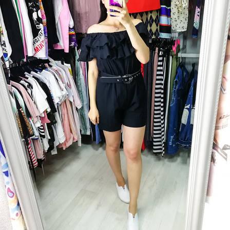 Комбинезон шорты с воланом чёрный -525-6082-1, фото 2