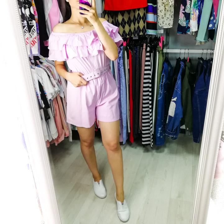 Комбинезон шорты с воланом розовый 525-6082-2