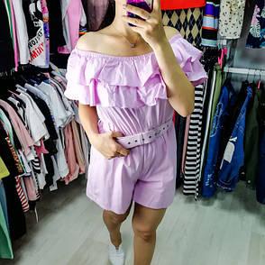 Комбинезон шорты с воланом розовый 525-6082-2, фото 2