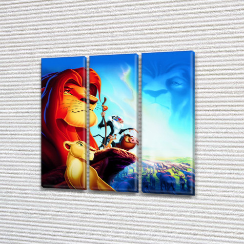 Картина модульная Король Лев в детскую, на Холсте син., 65x65 см, (65x20-3)