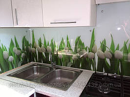 Кухонный фартук из стекла тюльпаны