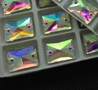Стразы пришивные Прямоугольник 13х18мм Crystal AB, стекло