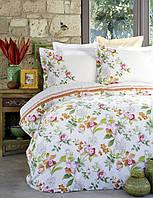Набор постельное белье с жакардовым покрывалом пике Karaca Home Paradise orange оранжевое полуторного размера