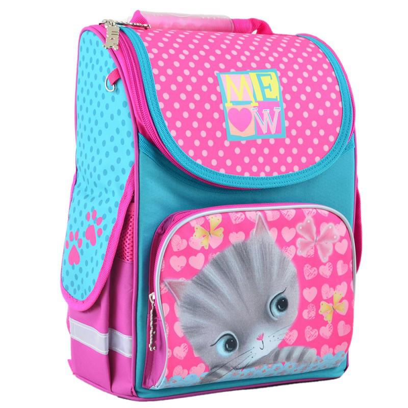 Ранець (рюкзак) - каркасный школьный для девочки розовый - Котик (Кот), H-11 Cat, 555294