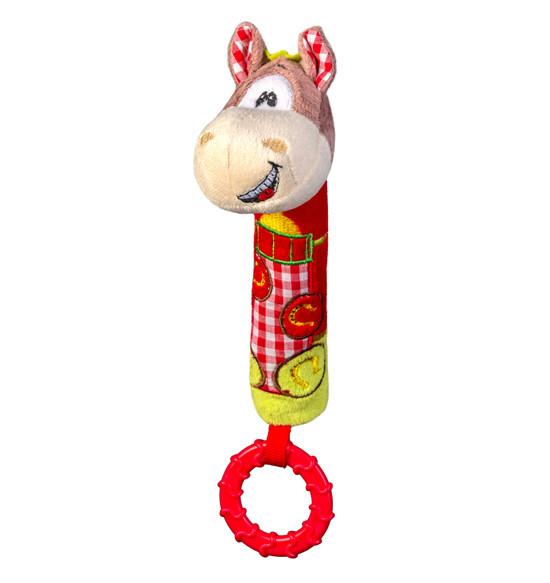 Игрушка-пищалка с грызунком для коляски Лошадка