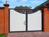 Ворота распашные из сэндвич-панелей. Серый