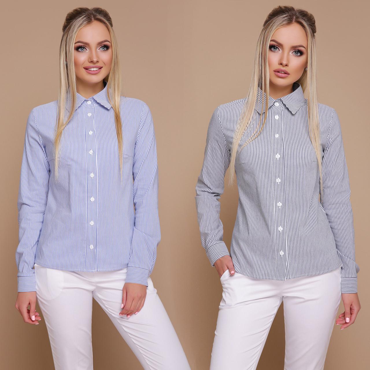 86e3dd92d5fc71d Приталенная женская рубашка в полоску из бенгалина - Интернет-магазин