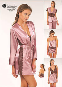 Шёлковый набор белья ТМ Bondy (2350) 6 в 1. Халат, сорочка, кофта, штаны, майка и шортики цвет пудра