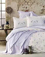 Набор постельное белье с жакардовым покрывалом пике Karaca Home Tesla lila лиловое полуторного размера