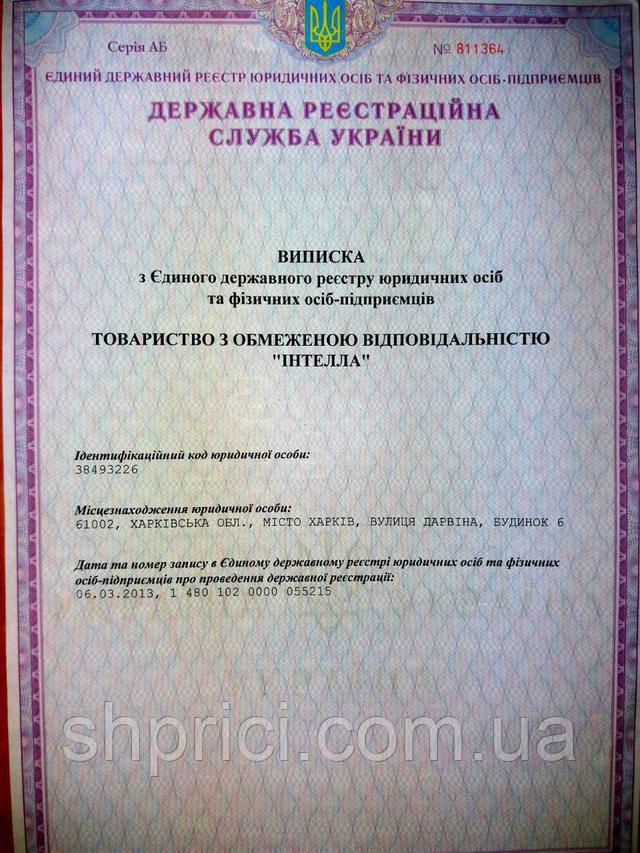 """Svidetelstvo_o_gosregistratsii_ """"Intella"""""""