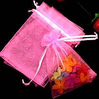 Мешочек из органзы 10х13 см Розовый яркий, фото 1