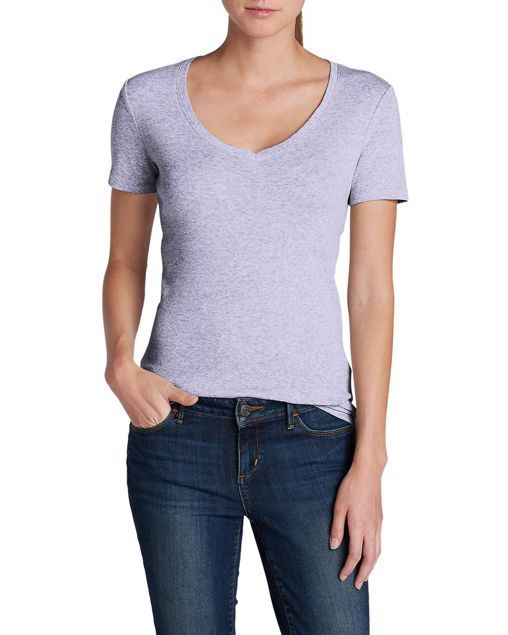 Футболка Eddie Bauer Favorite Short-Sleeve V-Neck T-Shirt