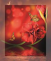 Картина на стекле с МДФ подложкой Бабочки и цветы 50*60 см