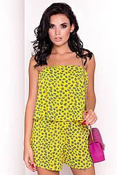 Женский летний комбинезон желтого цвета. Модель 36508. Размеры 42-46