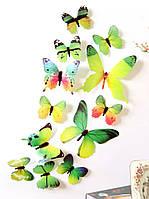 Виниловая наклейка бабочки 3D зеленые 12 шт