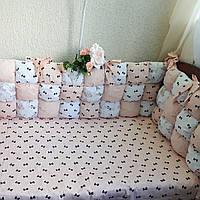 Бортики в детскую кроватку для новорожденных с наполнителем холлофайбер
