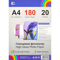 Фотопапiр глянсовий А4  щільність 180 г/м2, 20 аркушiв