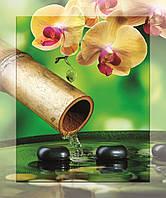 Картина на стекле с МДФ  подложкой Желтые орхидеи на зеленом фоне 50*60 см