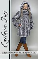 Женская шуба из искусственной норки, леопард светло-серый цвет №45