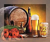 Картина стекле с МДФ подложкой Пиво.Раки 50*60 см
